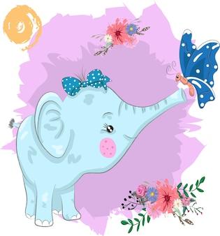 Dessin animé mignon éléphant et papillon peint