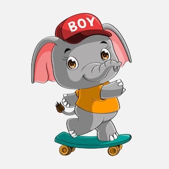 Dessin animé mignon éléphant skateboard dessiné à la main