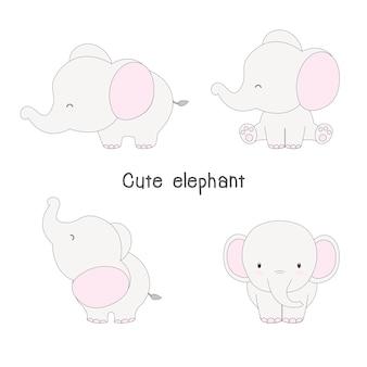 Dessin animé mignon d'éléphant.
