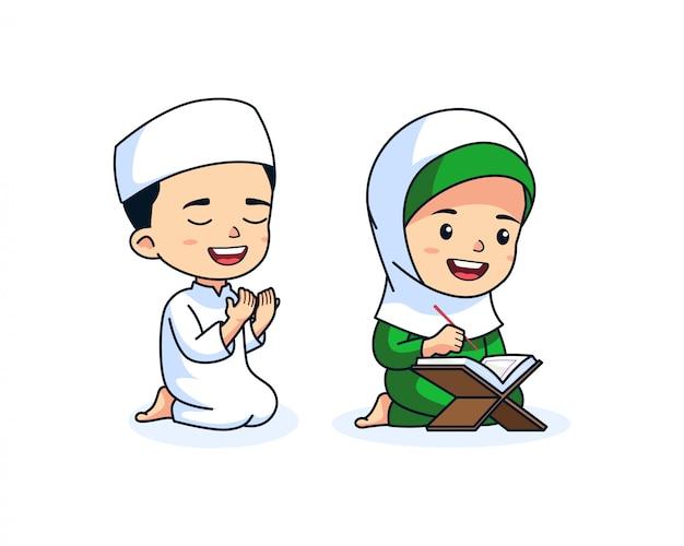 Dessin animé mignon d'enfants musulmans