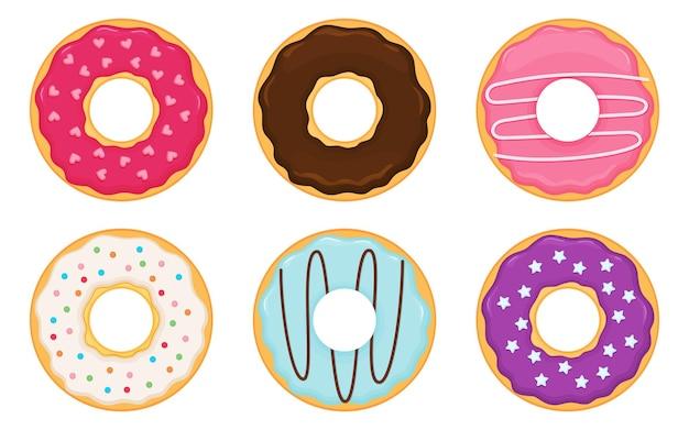 Dessin animé mignon ensemble coloré d'illustration vectorielle de beignets