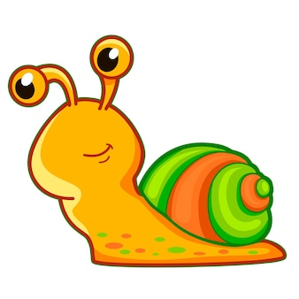 Dessin animé mignon d'escargot. illustration clipart escargot