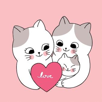 Dessin animé mignon famille de chats blancs de la saint-valentin et vecteur de coeur.
