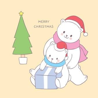 Dessin animé mignon famille d'ours polaires de noël et vecteur de cadeau.