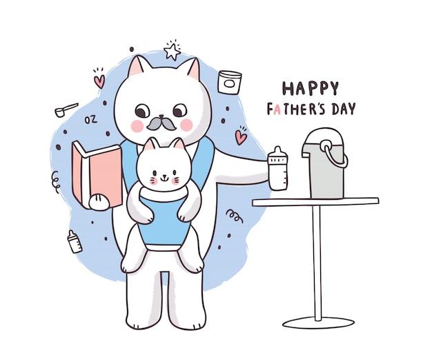 Dessin animé mignon fête des pères, père et bébé chat nourrir le lait