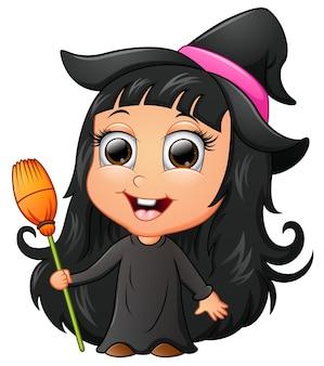 Dessin animé mignon fille portant le costume de sorcière