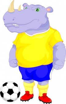 Dessin animé mignon de football de rhinocéros