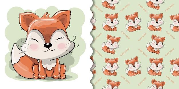 Dessin animé mignon fox avec des fleurs sur fond blanc