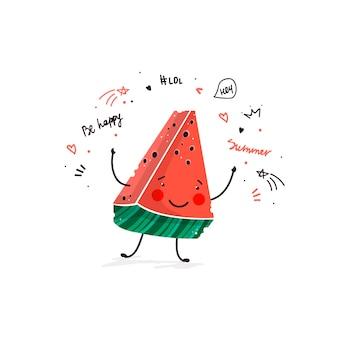 Dessin animé mignon de fruit de la pastèque doodle croquis illustration