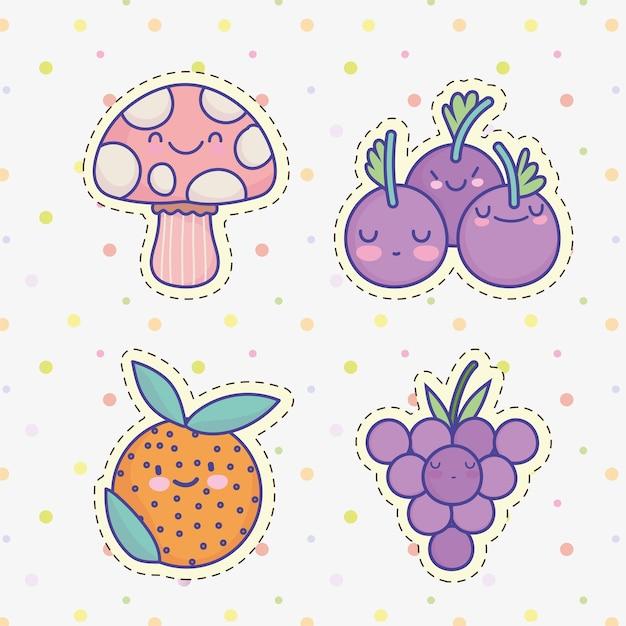 Dessin animé mignon fruits légumes raisins orange