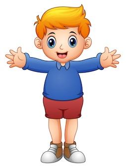 Dessin animé mignon garçon en chemises bleues