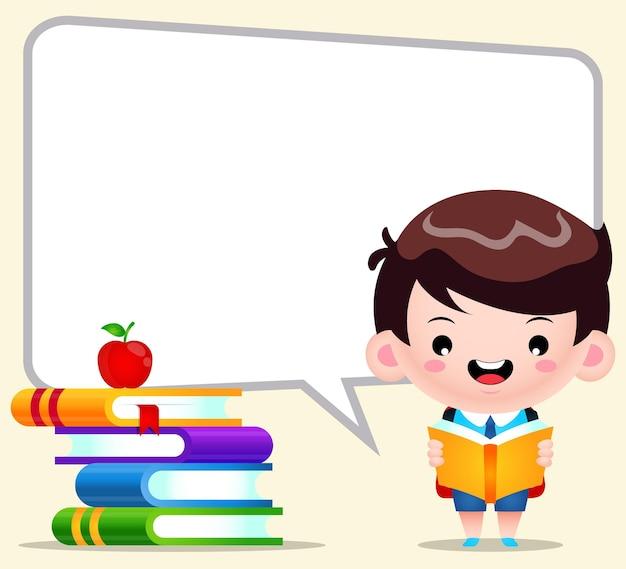 Dessin animé mignon garçon étudiant lecture avec grosse bulle discours
