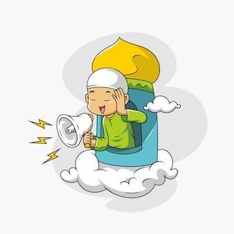 Dessin animé mignon garçon musulman dessiné à la main avec mosquée et mégaphone