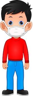 Dessin animé mignon garçon portant un masque respiratoire