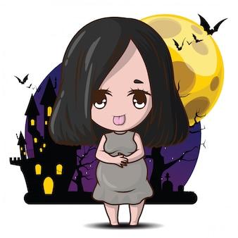 Dessin animé mignon ghost phi tai thang klom., phi tai thang klom est une divinité de la famille de la religion populaire thaïlandaise. concept d'halloween fantôme enceinte.