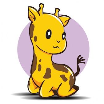 Dessin animé mignon girafe., concept d'animal mignon.