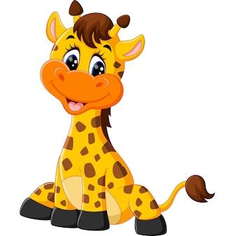 Dessin animé mignon girafe d'illustration