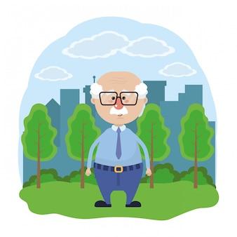 Dessin animé mignon de grand-père