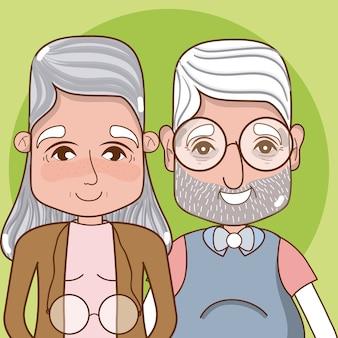 Dessin animé mignon grands-parents sur fond coloré