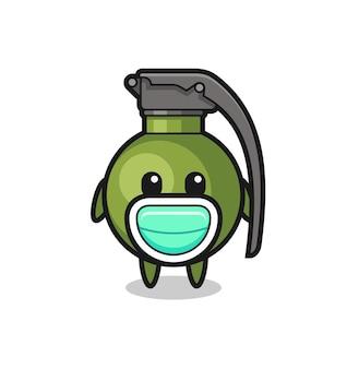 Dessin animé mignon de grenade portant un masque, conception de style mignon pour t-shirt, autocollant, élément de logo