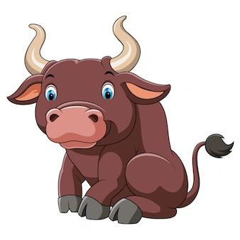 Dessin animé mignon gros taureau