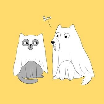 Dessin animé mignon halloween fantôme chat et chien vecteur.