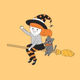 Dessin animé mignon halloween sorcière fille et chat vecteur volant.