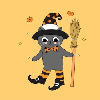 Dessin animé mignon halloween vecteur de chat de sorcière.