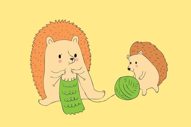 Dessin animé mignon hérisson automne et bébé vecteur de tricotage.
