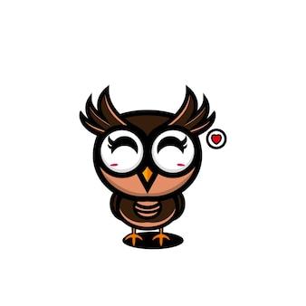Dessin animé mignon hibou character design vector illustration