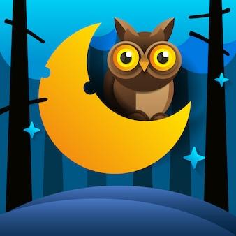 Dessin animé mignon hibou est assis sur le croissant de lune endormi dans le ciel nocturne avec des étoiles
