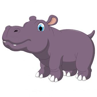 Dessin animé mignon un hippo gras aux yeux bleus