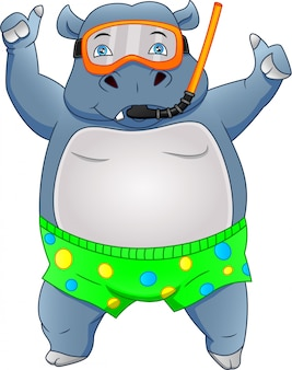 Dessin animé mignon hippopotame portant un équipement de plongée en apnée