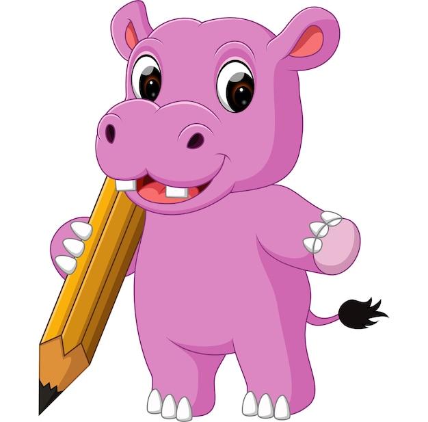 Dessin animé mignon hippopotame tenant un crayon
