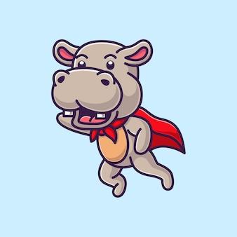 Dessin animé mignon hippopotame
