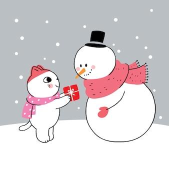 Dessin animé mignon hiver, chat et bonhomme de neige et cadeau