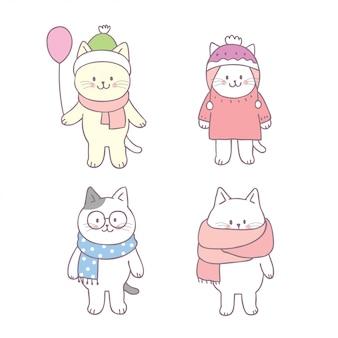 Dessin animé mignon hiver chat set vector.
