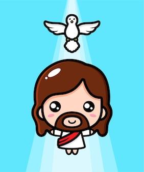 Dessin animé mignon jésus christ