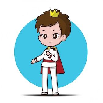 Dessin animé mignon jeune prince.