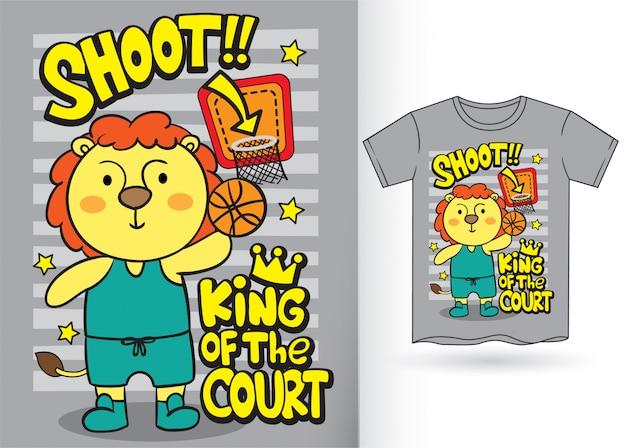 Dessin animé mignon de joueur de basket-ball de lion pour le tshirt