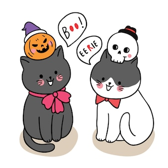 Dessin animé mignon jour d'halloween, astuce ou régal de chats noirs