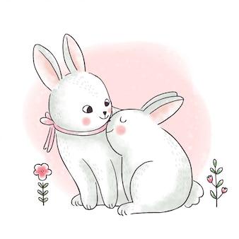Dessin animé mignon jour de pâques, maman et bébé lapins