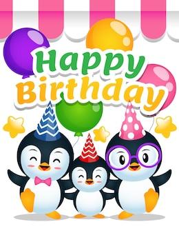 Dessin animé mignon de joyeux anniversaire de famille de pingouin