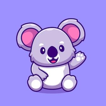 Dessin animé mignon koala agitant la main