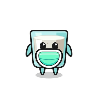 Dessin animé mignon de lait portant un masque, design de style mignon pour t-shirt, autocollant, élément de logo