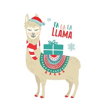 Dessin animé mignon lama alpaga graphisme vectoriel pour les vacances de noël