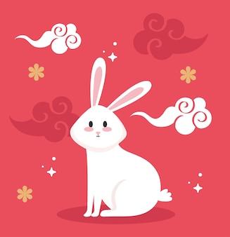 Dessin animé mignon lapin blanc avec conception de nuages, thème de la nature et des personnages de la vie animale