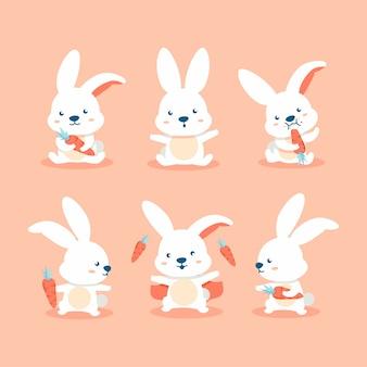 Dessin animé mignon lapin avec carotte définit l'action un