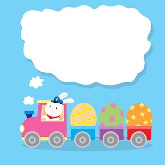 Dessin animé mignon lapin conduisant un train et des oeufs de pâques