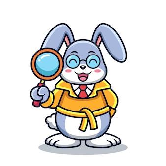Dessin animé mignon de lapin détective. illustration d'icône vecteur animal, isolée sur vecteur premium